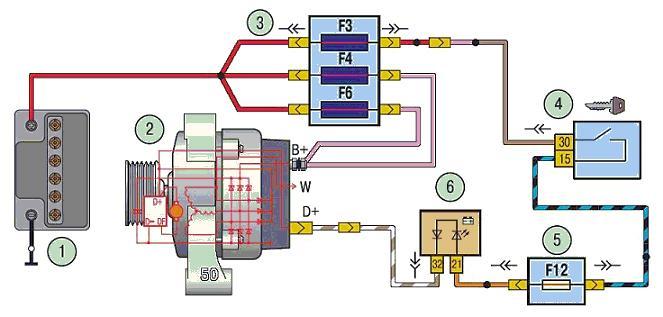 Принципиальная схема подключения генератора на автомобиле ВАЗ 2170 2171 2172 Приора