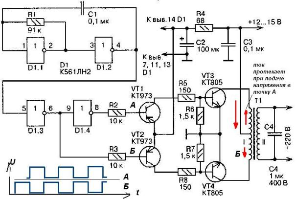 На рис. 1 представлена одна из схем инвертора с 12 на 220 вольт.  Схема состоит из трех функциональных узлов...