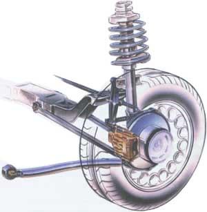 Задняя подвеска - стойка MacPherson с многорычажным механизмом.  Стойка удерживает колесо вертикально...