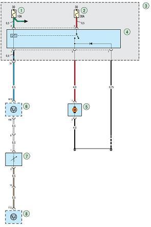 Элементы в электросхеме системы кондиционирования воздуха Ford focus 2 и Ford focus 3. Рис.1 Электросхема системы...