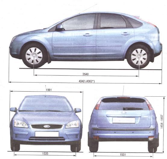 Габаритные размеры автомобиля с кузовом хэтчбек Ford Focus II.
