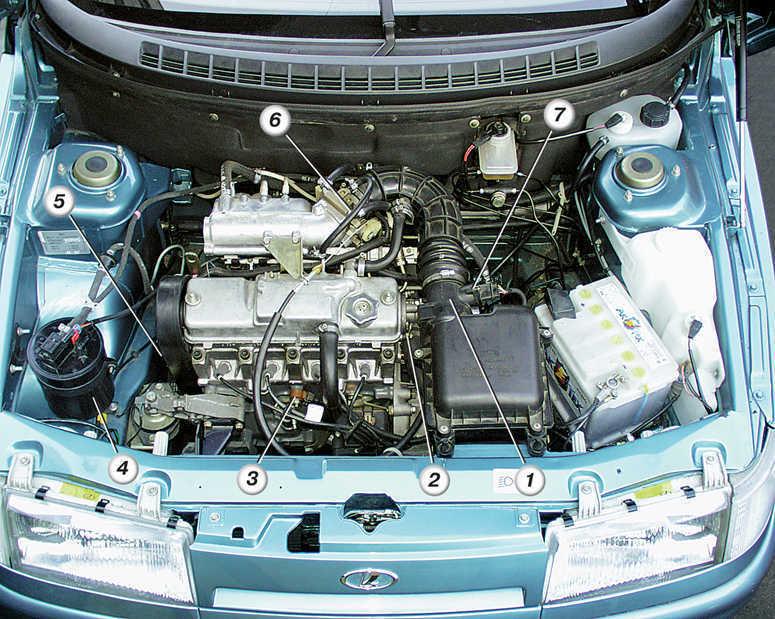 ...(установлен на патрубке системы охлаждения); 3 - датчик детонации; 4 - адсорбер системы улавливания паров бензина.