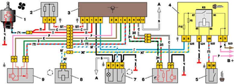 Ваз 2110 схема отопитель загрузка.