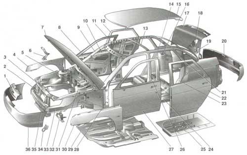 Детали каркаса кузова ВАЗ 2110