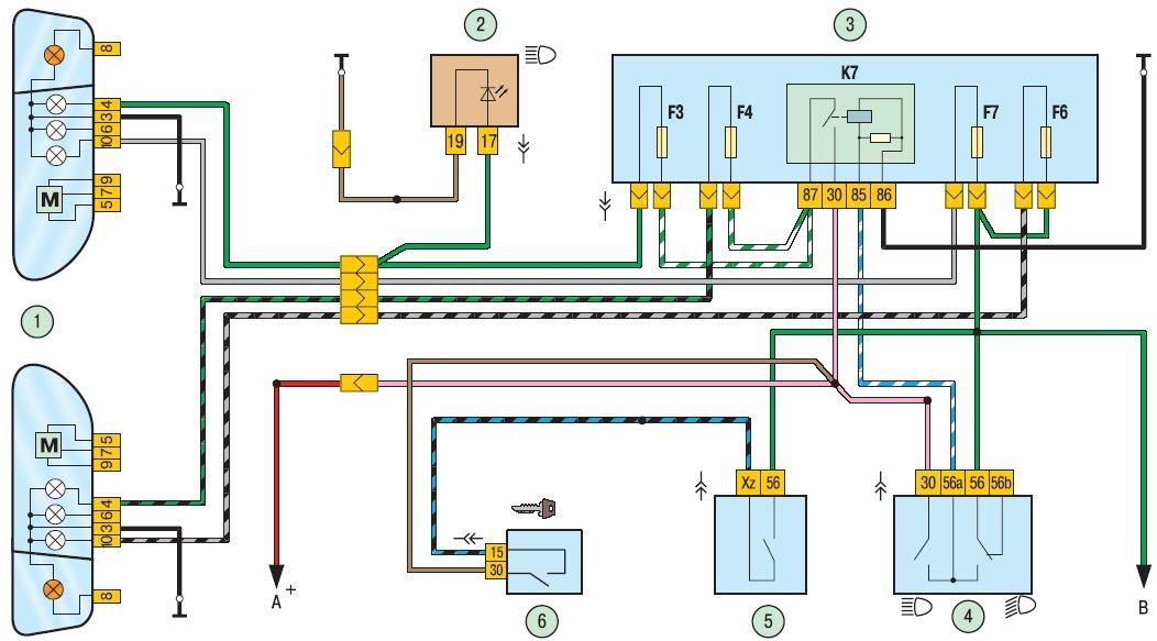 1 показана схема включения фар